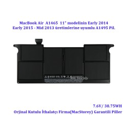 "Apple MacBook Air 11"" A1465 Pil A1495 Pili Bataryası Batarya Mid 2013 Early 2014-2015 Battery"