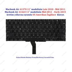 """Apple MacBook Air A1370 A1465 11"""" Klavye US İngilizce"""