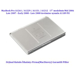 Apple MacBook Pro A1151 A1212 A1229 A1261 Pili A1189 Batarya 2006 Mid/Late 2007 Early 2008 Late 2008