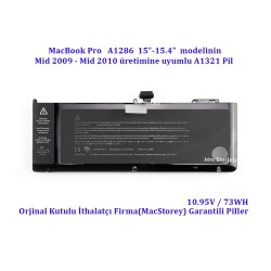 Apple MacBook Pro A1286 Pil A1321 Mid 2009 Mid 2010 Pil Bataryası Battery Orjinal Kutulu EMC 2353