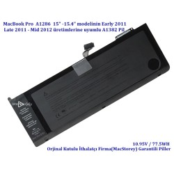 Apple MacBook Pro A1286 Pil Early 2011 Late 2011 Mid 2012 A1382 Pil Bataryası MD322 Battery