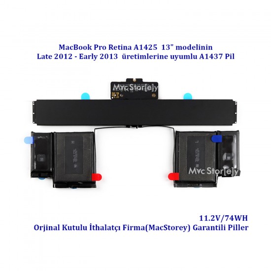 Apple MacBook Retina 13'' A1425 Pili Bataryası A1437 Late 2012 Early 2013 Batarya Pil EMC2557