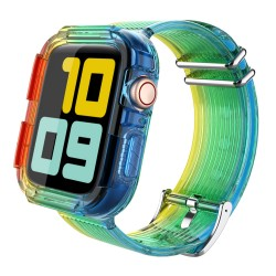Apple Watch 6-5-4-3 42MM-44MM Kordon Kayış Komple Kasa Koruyucu OutDoor Kılıfı Rainbow