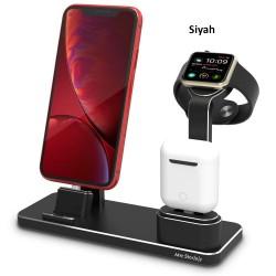 iPhone Şarj Aleti Çoklu Şarj İstasyonu Mıknatıslı Şarj Aleti Hızlı Şarj Destekli Stand