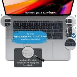 Laptop MacBook Air 13inc Klavye Koruyucu A1932 2018/2019 Uyumlu Avrupa İngilizce Baskı Silikon Kılıf