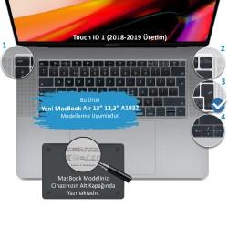 Laptop MacBook Air 13inc Klavye Koruyucu A1932 2018/2019 Uyumlu Türkçe Baskılı Silikon Kılıf