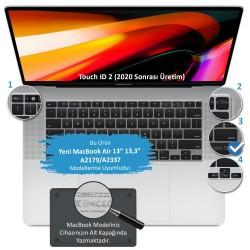 Laptop MacBook Air 13inc Klavye Koruyucu A2179 A2337 2020 2021 Uyumlu Amerikan İngilizce Baskılı