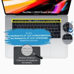 Laptop MacBook Pro TouchBar Klavye Koruyucu A1706 1989 2159 A1707 1990 F Türkçe Baskı Daktilo Düzeni