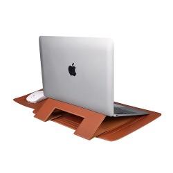 Laptop MacBook Stand 13inc Koruyucu Kese Deri Kılıf Kadın Erkek Laptop Çantası Mouse Pad Şarj Aleti Kılıfı