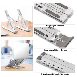 Laptop Stand MacBook Notebook Katlanabilir Taşınabilir Metal Standı