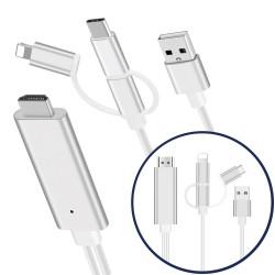 Lightning to OT Multi HDMI Cable (Micro USB+ USB-C)