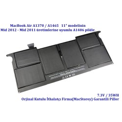 MacBook Air A1370 A1465 Pili Bataryası A1406 Batarya Mid 2011 Mid 2012 Pil Orjinal Kutulu