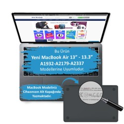 MacBook Air Kılıf 13inc HardCase Touch ID A1932 A2179 A2337 Uyumlu Koruyucu Kılıf Çiçek Desenli FW05