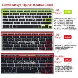 Laptop MacBook Air Pro Klavye Koruyucu 13inc 15-17inc İngilizce/Türkçe Klavye USTipli A1466 Ombre