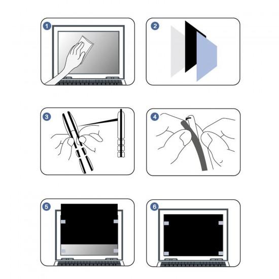 MacBook Pro 15inc Hayalet Ekran Koruyucu Kırılmaz Cam A1707 A1990 Privacy Gizlilik Ekran Koruyucu