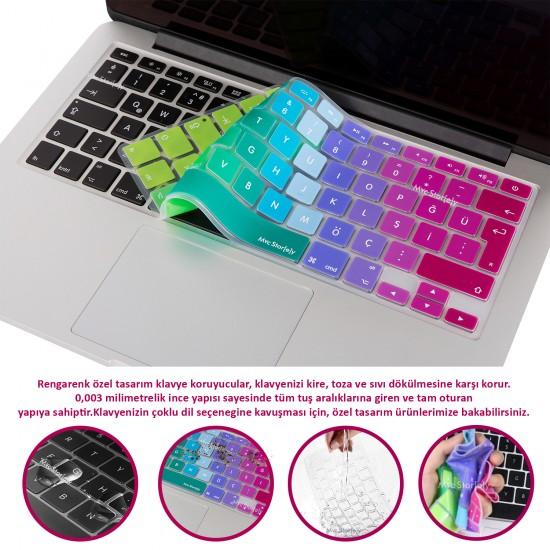 Laptop MacBook Pro Klavye Koruyucu 13inc A1708 12inc A1534 Uyumlu İngilizce Türkçe Baskı Ombre