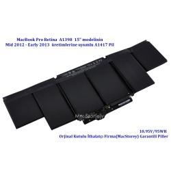 MacBook Pro Retina Batarya 15inc Pil A1398 Modeline Uyumlu A1417 Pili