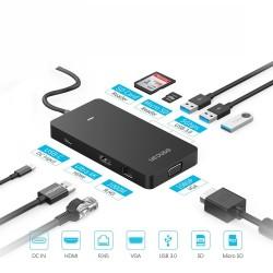 Type-C Çevirici HDMI VEGA Ethernet Dönüştürücü USB Hup Çoklayıcı Çoğaltıcı Adaptör