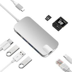 UCOUSO USB-C Hub EThernet HDMI 3XUSB3.0 AC Sd Msd MacBook Dönüştürücü Aparat 1534 A1706 A1708 A1707
