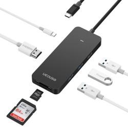 UCOUSO USB-C to HDMI 2XUSB3.0+1XAC SD MS Type-C MacBook Dönüştürücü Aparat 1534 A1706 A1708 A1707 A1990 - Siyah