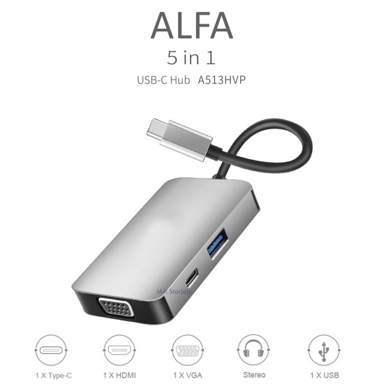 USB-C Type-C Hub USB Çoğaltıcı HDMI VGA Çevirici 3.5mm Kulaklık Çevirici Adaptör